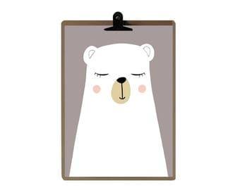 Bear nursery print -  Nursery art prints - baby nursery decor - nursery wall - Children Art - Kids Room