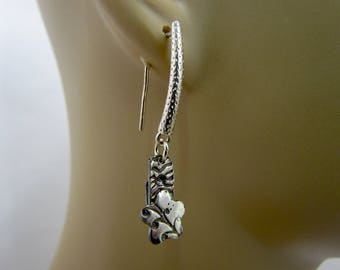 Item 4170 -999 Fine Silver Handcrafted, sculpted Earrings 925 Sterling Silver Hammered