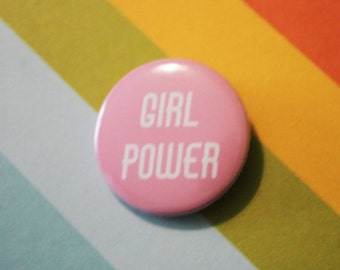 Girl Power Badge Feminist 25mm Pinback Button Pink