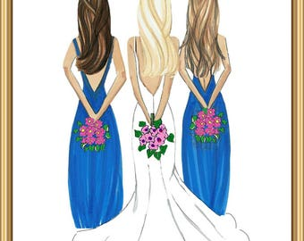 Bride illustration with bridesmaids, bridesmaid proposal, maid of honor proposal, gift for bride, I said yes, ask bridesmaid, ask moh, bride