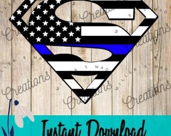 Thin Blue Line Superman SVG