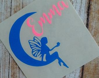 Fairy Decal/ Fairy Monogram/Mermaid/Pixie Monogram/Fairy Sticker/Fairy Dust Decal/Pixie Dust Decal/Initials/HTV Decal/Moon/Fairy