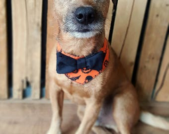 Halloween Dog Bandana, Halloween Dog Costume, Pumpkin Print, Halloween Dog Collar, Halloween Dog Bow Tie, Halloween Pet, Orange Dog Bandana