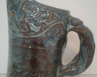 Small blue stoneware pitcher