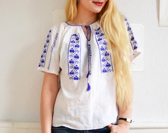 Vintage Blouse, Shirt 70s, boho, hippie, Size S - M, Indian embroidery, tassels, Twiggy