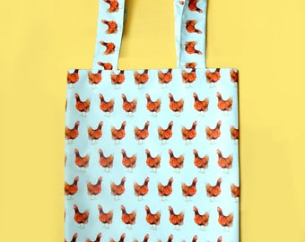 Waterproof chicken tote bag - quirky shopping bag - unique chicken print fabric - chicken mum gift - hen chick project bag - cute animal bag