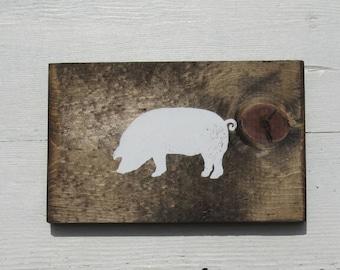 Pig Sign, Rooster Sign, Cow Sign, Shelf Sitter, Wood Farm Animal Decor, Farm Animal Kitchen Decor, Farmhouse, Barn Yard Animals