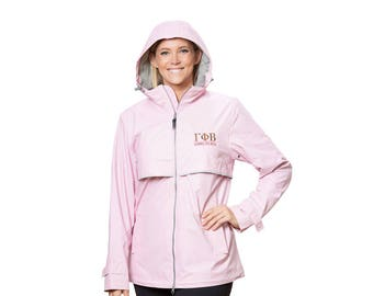 GPB Gamma Phi Beta Sorority Charles River New Englander Rain Jacket With Greek Letter Line Font Embroidery