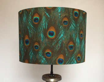 Hand made rolled-edge 'Peacock Feather' fabric lampshade