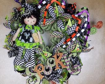 Halloween Wreath, Witch wreath, Halloween Decor, Spider Wreath