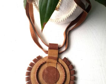 Bohemian leather necklace,  Leather necklaces for women, Long leather necklace, Statement necklace leather, Brown Leather Necklace