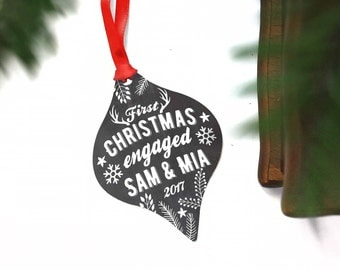 First Christmas Engaged - Personalized Engagement Ornament - Engaged Couple Christmas Gift - Newly Engaged Gift - Fiance Gift For Him
