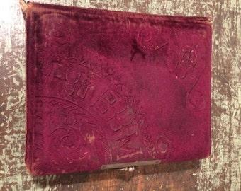 Antique Photo Album - Cabinet Photo Album - Velvet Cover with Metal Clasp
