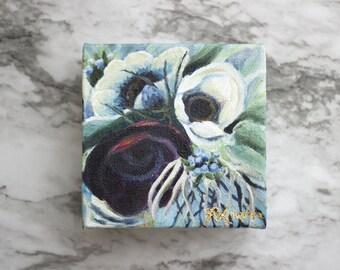 "FLOURISH - Acrylic Painting 4x4"" Canvas Block"