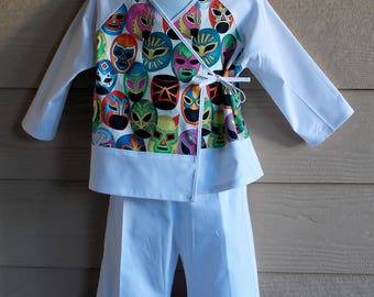 Lucha Libre Print Toddler Kimono Jacket and Pants