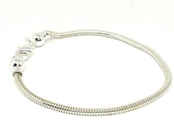 """8"""" European Style Bracelet, Caprice Chain, Silver Plated Snake Chain, Interchangeable Charms, Removable Ball End,Bracelet Findings,HC7622"""