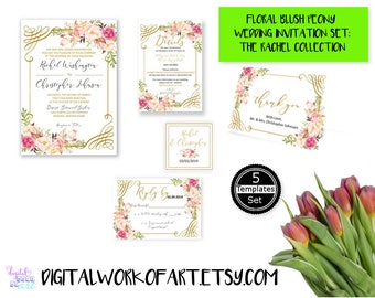 DIY Floral Wedding Invitation Template,Floral Wedding Invitation Suite Template,Editable PDF Wedding Invite,Instant Download,Printable,#rc