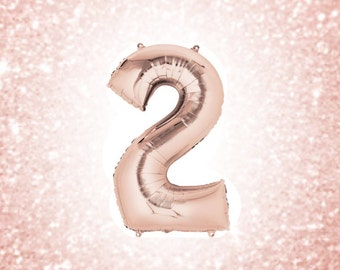 "34"" Two Balloon, Rose Gold Two Balloon, Number Balloon, Second Birthday Balloon, Gold 2 Balloon, Balloon Banner, 2nd Birthday Balloon"