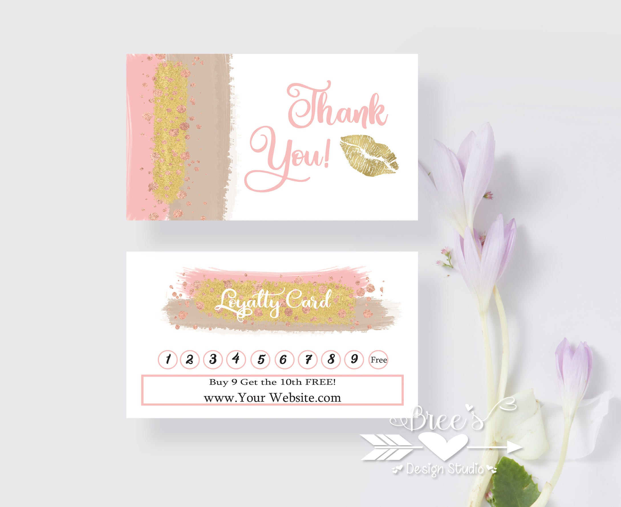 Brush strokes Lips Business Punch Cards | Direct Sales | Rewards ...