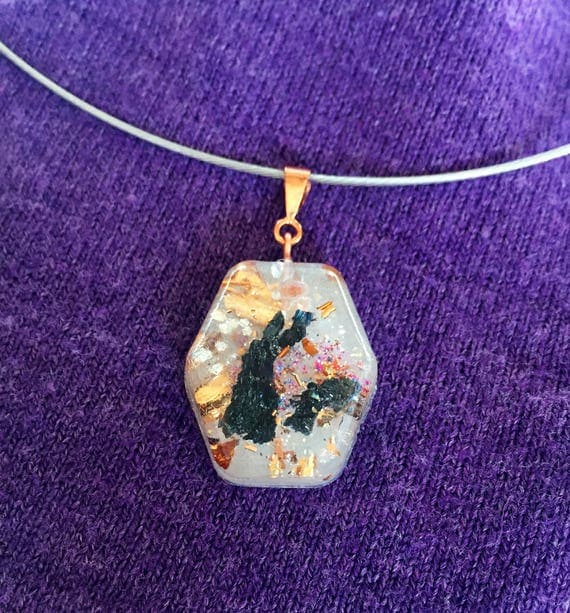 EMF Protection Orgonite® Pendant- Carborundum Orgone Energy Necklace- Negative Energy Shield with Gold Flake- Spiritual Protection Crystals