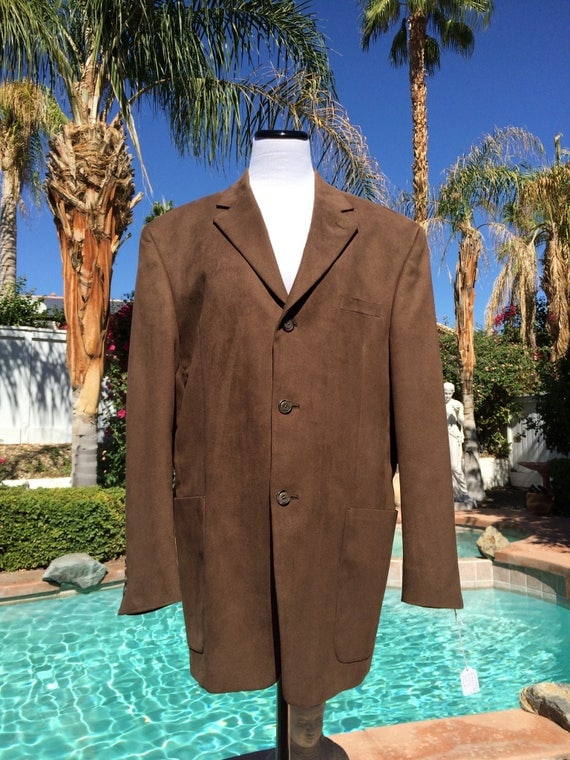 Gianfranco Ruffini Italy Polyester Suede Jacket,Size 44R
