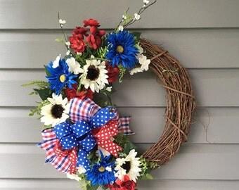 SALE Patriotic Wreath for Front Door, July 4th Wreath, Red White Blue  Wreath, Grapevine Wreath for Front Door, Uncle Sam Wreath, Patriotic