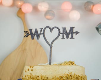 Rustic Wedding Cake Topper, Cake Topper, Mr & Mrs Cake Topper, Personalized Cake Topper, Custom Cake Topper, Anniversary Cake Topper