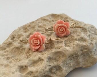 Pink Acrylic Flower Earrings,  Dangle earrings, Goldfilled earrings, Pink earrings, Drop earrings, Flower earrings, Gold earrings,