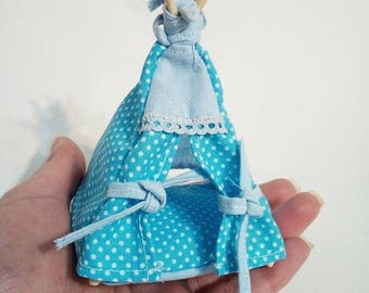 Dollhouse Teepee - Dollhouse furniture - Handmade - Fairy Garden - Fairy Garden tent - Miniature