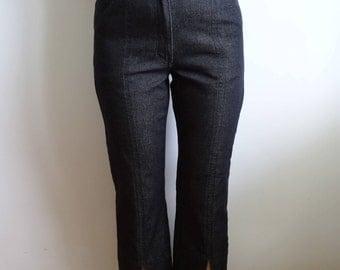 Vintage Dark Blue Pant's/ Capri Pants/ With Metal Button/ Work Trousers / Blue Elastic Cotton Pants