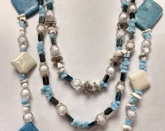 Blue, white, silver necklace set