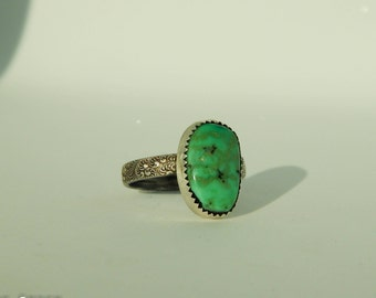 New Lander Turquoise Sterling Silver Ring, Detailed Band, Size 7