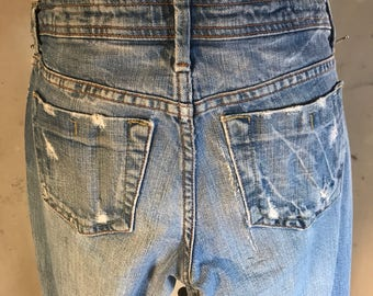 575 los angeles faded jeans torn low rise straight leg