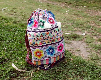 Vintage Peruvian Backpack Upcycled Recycled Colorful Psychedelic Festival Gipsy Tribal Ethnic Medicine Andean Bag