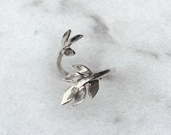 Leaf Midi Ring, Silver Leaf Ring, Adjustable Leaf Ring, Leaves Ring, Olive Branch Ring, Wrapped Ring, Adjustable Ring Unique Gift for Her