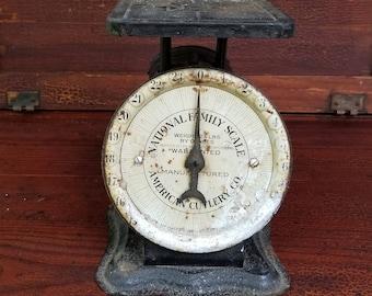 Antique National Family Scale ~ American Cutlery Co. ~ Kitchen Scale ~ Primitive Farmhouse Kitchen ~ Rustic Decor ~ Fixer Upper Style