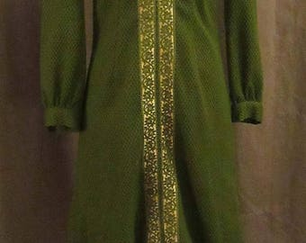 Mid-Summer Sale 20%OFF 60s Green and Gold Sheath Dress