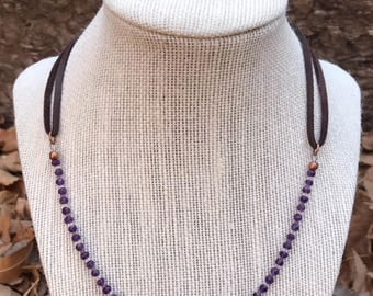 "3mm Amethyst Rondelles (separated by 1mm Matsuno Clear Seed Beads) Beaded Necklace on 1/8"" Dark Brown Leather Cord"