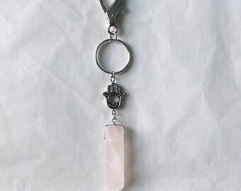 Rose Quartz & Hamsa Keychain • Rose Quartz Keychain • Hamsa Keychain