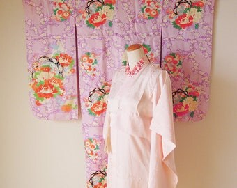 Vintage Japanese Kid's Kimono & Juban Set / For 7 years old