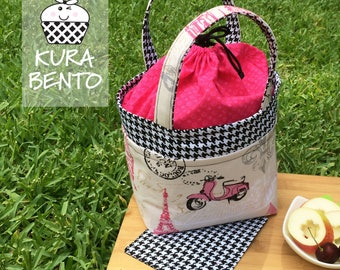 Bento Lunch Bag in Parisian Pink and Houndstooth