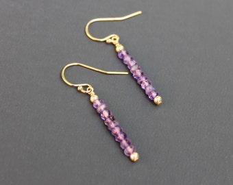 Amethyst February Birthstone Dangle Stacked Bar Earrings, Amethyst Silver Jewelry, Simple Amethyst Earrings, Purple Earrings, Purple Jewelry