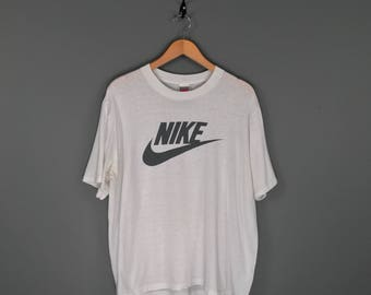 90s Black on White Nike Swoosh T-Shirt. Vintage Grey Tag Nike Swoosh Sports Athletics Tee Made in USA.