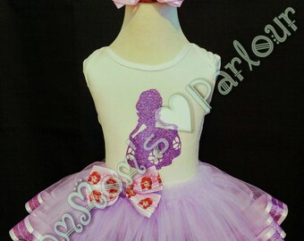 Sofia the first tutu, birthday outfit, birthday tutu, sophia tutu, sophia birthday outfit, sofia the first birthday outfit, glitter trim