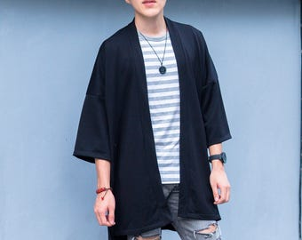 Men's Long Black Japan Kimono Cardigan, Man Noragi Coat, Oversized Street Haori Jacket, Summer Streetwear Loose Style Yukata Spring Overcoat