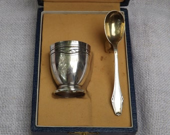 Egg Cup and spoon plated silver vintage 1950