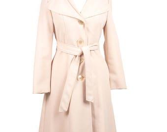 Women's Small 70s Ivory Beige Trench Coat with Belt and Hood Light Beige Trench Dress Coat Long Hooded Coat Women's Coat Jacket