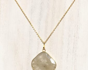 Double sided genuine polished rutilated quartz pendant with gold plated chain necklace, quartz pendant and necklace