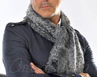 Men's luxury persian for scarf, astrakan fur scarf Persian lamb fur, pelliccia, sciarpe di astrakan, di fourrure écharpe, bufanda de la piel karakul