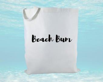 Beach Bum Canvas Tote Bag, Beach Bag, Beach Theme Gift